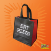 """Wild Mike's reusable grocery bag, with """"Eat Pizza"""" printed on the visible side"""