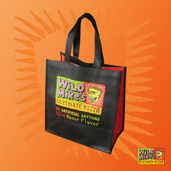 Wild Mike's reusable grocery bag, with the Wild Mike's logo printed on the visible side.